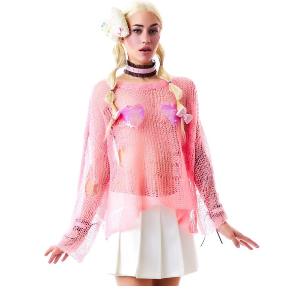 Wildfox Sweaters - Wildfox Couture Pink Sequin Heart Bra Lost Sweater